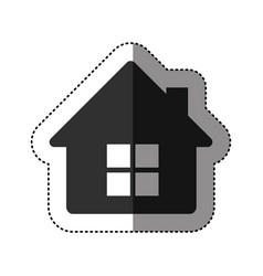 sticker of black silhouette of house side view in vector image