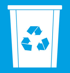 Trash bin with recycle symbol icon white vector