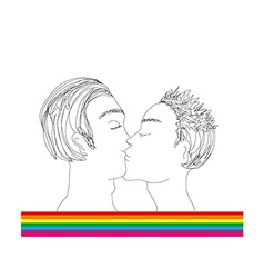 Two men kissing vector image