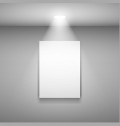 vertical frame on the wall with light on gray vector image