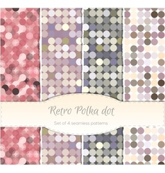 Vintage polka dot seamless patterns set of four vector