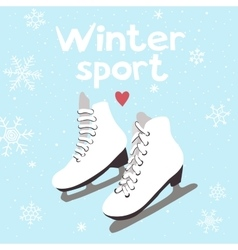 Winter card with ice skates vector