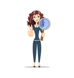 Woman with a magnifying glass vector