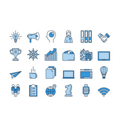 02 blue business icons set vector image vector image