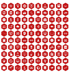 100 e-learning icons hexagon red vector