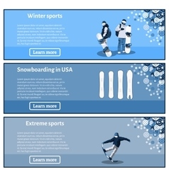 Snowboard theme banners set vector