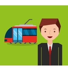 Tram transport coveyance icon vector