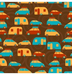 Retro seamless travel pattern of cars vector