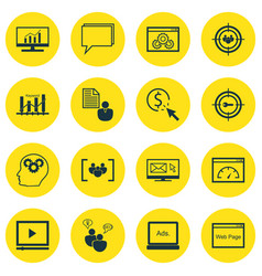 Set of 16 seo icons includes conference focus vector