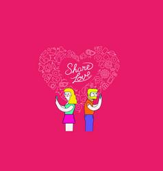 Couple on mobiles internet love concept art vector