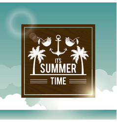 poster sky ocean landscape of logo text summer vector image