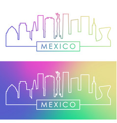 Mexico skyline colorful linear style editable vector