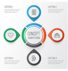 Communication icons set collection of delete vector