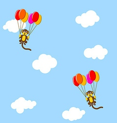 Monkeys in the sky with bubbles vector