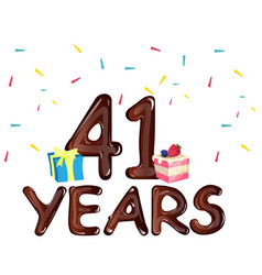 41 years anniversary celebration with gift box and vector image vector image