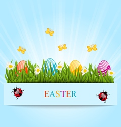 Greeting card with easter colorful eggs and vector