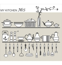Kitchen utensils on shelves 5 vector