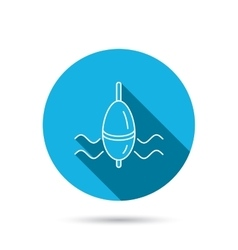 Fishing float icon bobber in waves sign vector