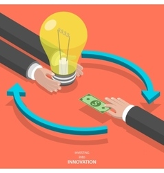 Investing into innovation flat isometric concept vector