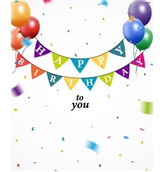 Birthday background with bunting and confetti vector