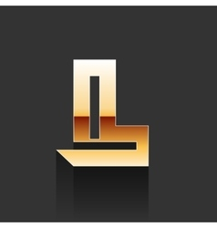 Gold letter l shape logo element vector