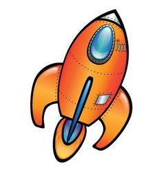 Orange space rocket vector