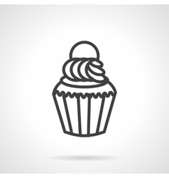 Creamy muffin simple line icon vector