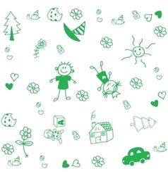 Draw for kids doodle art vector