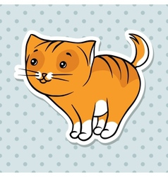 Red cute funny cat stand vector