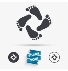Baby footprints icon child barefoot steps vector