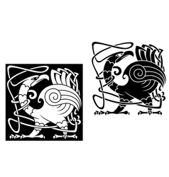 Angry bird in celtic style vector image
