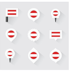 Austria flag and pins for infographic and map vector