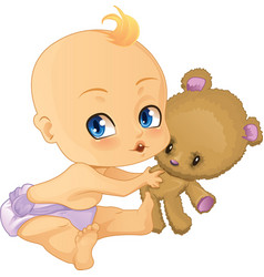 Baby Boy playing with Teddy Bear vector image vector image