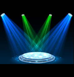 blue and green spotlights with white podium vector image vector image