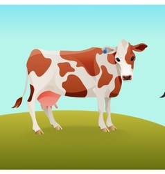 Brown and white spotted cow vector image vector image