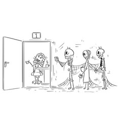 Cartoon of three skeletons of people dying vector