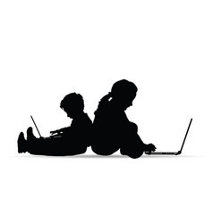 children silhouette playing on laptop vector image
