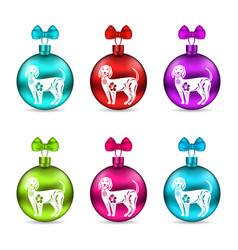 Colorful glass christmas balls with dogs group vector