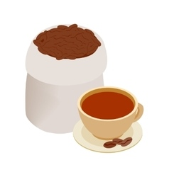 Cup of coffee and coffee beans icon vector