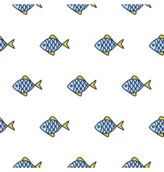Fish line icon seamless pattern vector