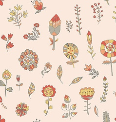 Flower pattern hand-drawn cute doodle vector