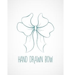 Hand drawn sketch of blue festive bow vector image vector image