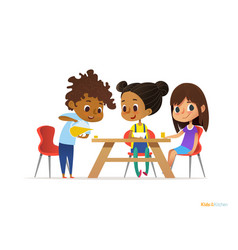 Happy kids having breakfast by themselves two vector