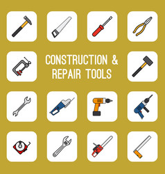 Home diy tools colored line icons vector