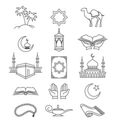 muslim line signs for ramadan kareem vector image
