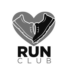 Private run club emblem with sneakers in heart vector