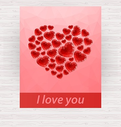 Red bright polygonal heart design for card vector image vector image