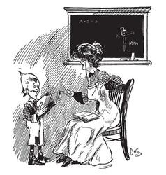 Schoolteacher and young boy chalkboard vintage vector