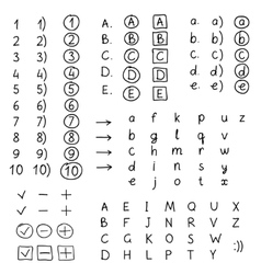 Set of hand drawing numbers and letters vector image