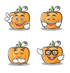 Set of pumpkin character cartoon style vector